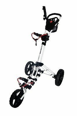 Founders 2016 Qwik Fold 3.5 3 Wheel Golf Push Pull Cart Trolley - White Red