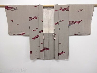 Vintage Japanese Kimono, Haori, Abstract Scenery, Craft Material, Japan Culture