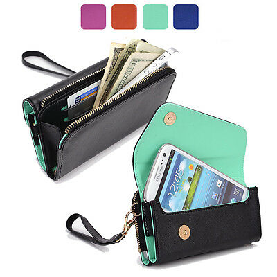 Fad Bicast Leather Protective Wallet Case Clutch Cover for Smart-Phones MLUB19