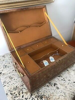 "VINTAGE  Large Lap Desk Box with Storage Compartments & key 18"" x 12 x 8"