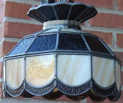 Vintage Stained Leaded Slag Glass PARLOR Lamp Amber & Opal Color Tiffany Style