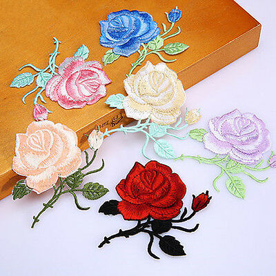 Rose Flower Iron-On Embroidered Patch Applique Motif Garment Decoration Craft PB