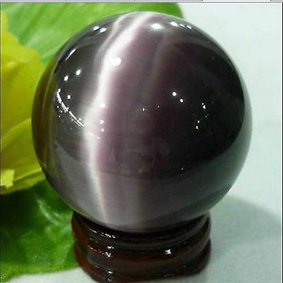 Rare Natural Quartz Purple Cat Eye Crystal Healing Ball Sphere 40mm + Stand #j85
