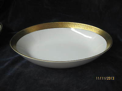 Vintage Japan Arita large oval Serving Bowl white and gold hand painted