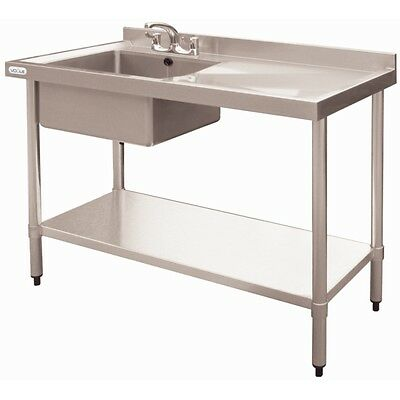 Sink Bench 1000mm Stainless Steel Left Hand Single Sink Restaurant Cafe