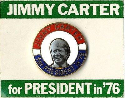 1976 Jimmy Carter Enamel Campaign Pin on Orig. Card (4636)