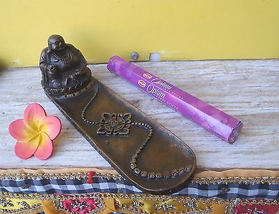 Unique Resin Large Incense Stick Holder Happy Buddha Design High Quality Sticks
