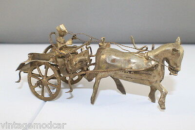 Vintage Intricate Brass Horse and Cart with Reinsman  -  Decrorative