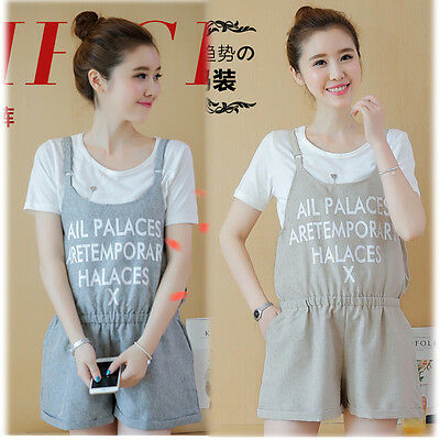 New Overalls Dungarees Shorts Pants Trousers W/ Matching TEE Cute Comfy M/L/XL