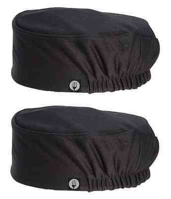 2 x Chef Caps Hats Beanies Black Chefworks Total Cool Vent Uniforms - BRAND NEW