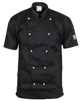 Chef Jacket Black Short Sleeve DNC Comfort Traditional All Sizes XXS to 4XL Cook