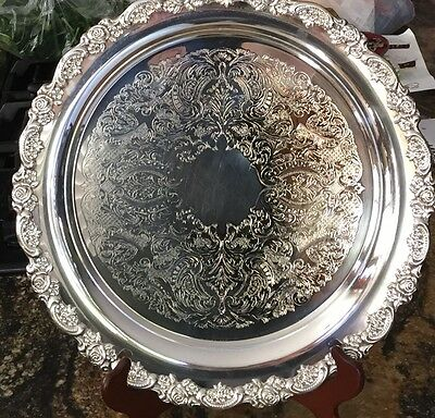 """DU MAURIER ONEIDA SILVER PLATED ROUND SERVING TRAY 15"""" Etched Design"""