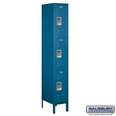 "Standard Metal Locker Triple Tier 1 Wide 6' High 18"" Deep Blue 63168BL-U NEW"