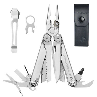 Leatherman Wave Stainless Multitool + Leather Sheath + Pocket Clip & Lanyard Rin