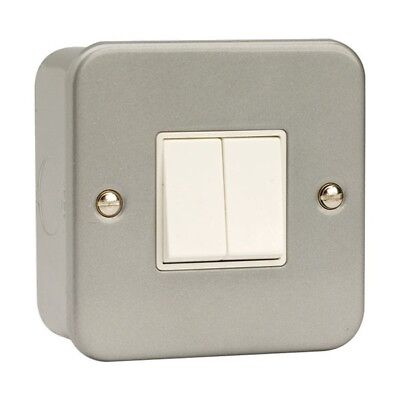 Click - Metal Clad 2 Gang 2 Way 10AX Plate Switch - CL012