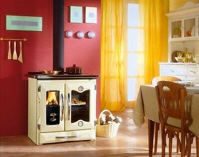 "La Nordica ""Mamy Cream"" Wood Burning Cook Stove, 27K BTUs"