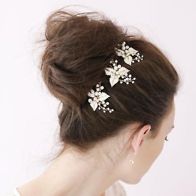 3pcs Wedding Bridal bridesmaid Pearl Flower Headpiece Hair Pin Hairpin