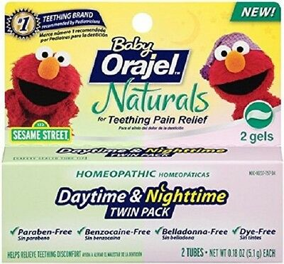 Baby Orajel Naturals Daytime & Nighttime Teething Gel Twin Pack,FROM 4 MONTHS