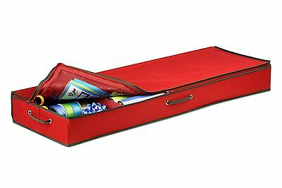 Honey-Can-Do SFT-01598 Wrapping Paper and Bow Storage Organizer, Holiday Red CXX