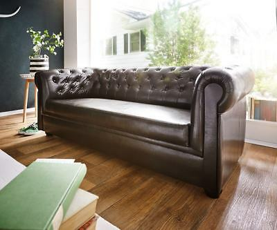 Couch Chesterfield Braun 3-Sitzer Sofa Abgesteppt Gepolstert by DELIFE