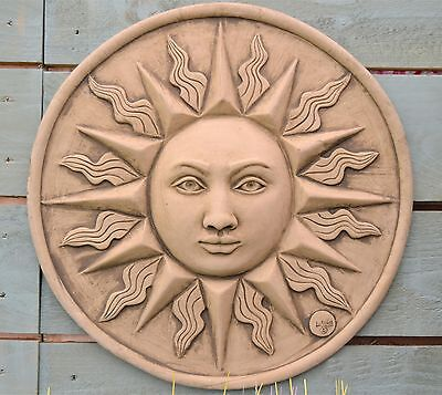 Large Sun Wall Plaque-Garden Ornament-Wall Hanging-Sculpture-Stone-Sundial