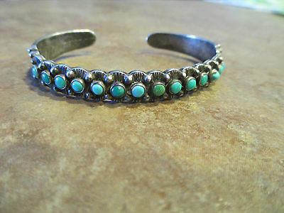 OLD Maisels Sterling Silver SNAKE EYE Turquoise ROW Cuff Bracelet   1940's