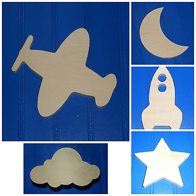 """Wooden Shapes 6"""" Size Unpainted Wood Outer Space Celestial Astronomy Wall Decor"""