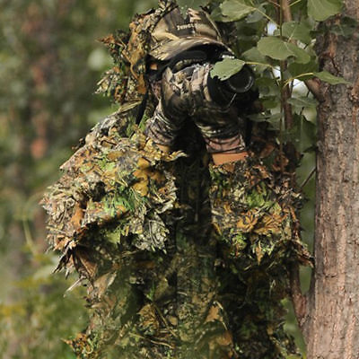 Leaf Camouflage Woodland Camo Ghillie Suit Set 3D Jungle Forest Hunting