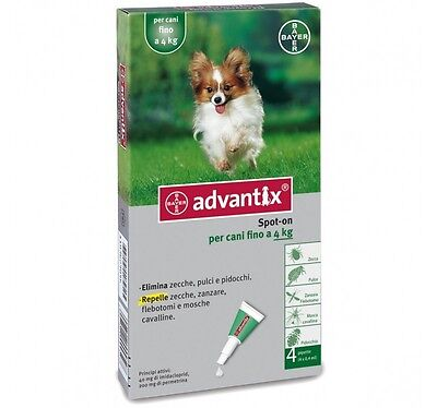 Bayer Advantix Fino A 4 Kg Antipulci Antizecche 4 Pipette
