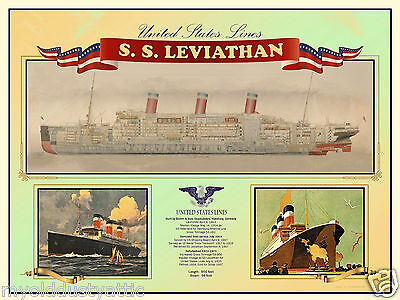 SS Leviathan Poster ~ United States Lines 18 x 24