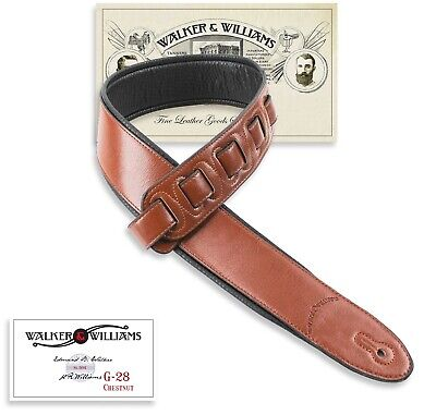 Walker & Williams G-28 Chestnut Brown Guitar Strap Padded Glove Leather Back