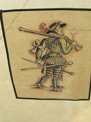 Antique Stained Glass German Military Lansquenet Foot Soldier Hand Painted • CAD $346.50