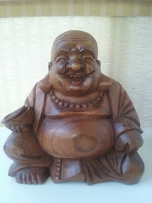 BEAUTIFUL - Wooden Hand Carved Laughing Fortune Happy Lucky Buddha