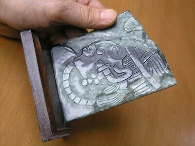 Vintage Precolumbian Style Grn Jade Plaque Mayan Warrior Guatemala Hand Carving