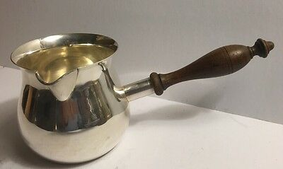 Antique Silver Plate Butter Warmer Pan Gravy Brandy Sauce Wood Handle