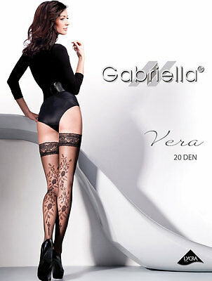 GABRIELLA Luxury Super Fine 20 Denier Lace Top Hold Ups - Available in 3 Colours