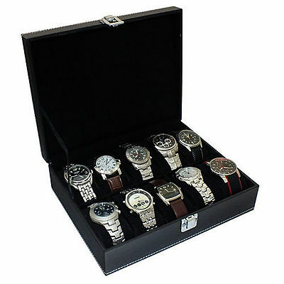 Faux Leather Watch Case Organiser Bracelet Storage Display Box Pillows - Boxed