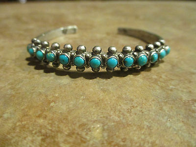 OLD PAWN Navajo Sterling Silver SNAKE EYE Turquoise ROW Cuff Bracelet