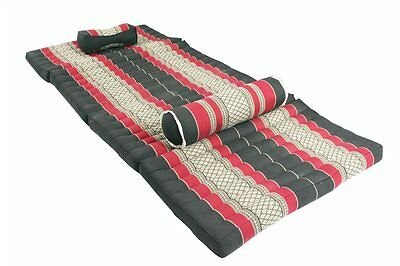 thai mat + cushions set massage kapok filling comfort natural red black