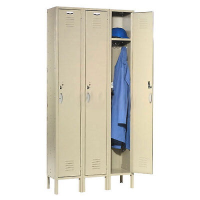 Single Tier Locker 12x15x72 3 Door RTA Tan, Lot of 1