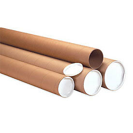 "Heavy-Duty Mailing Tube With Cap, 60""L X 3"" Dia, Kraft, 24 Pack"