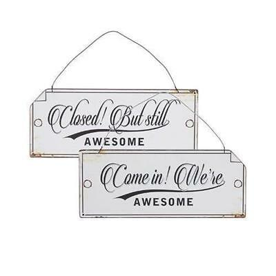 Welcome Sign, 'Awesome' Reversible Open & Closed Distressed Metal, Cafe / Shop