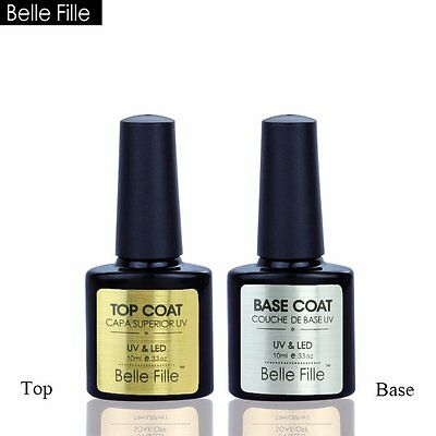 BELLE FILLE Top Coat Base Coat Gel Polish Soak off Nail Art Varnish Shinny DIY