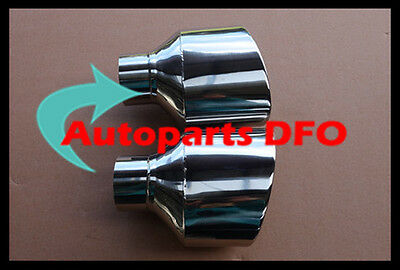 "2 3/4"" inlet Stainless Steel oval rolled angle cut Exhaust Tip 8"" long"