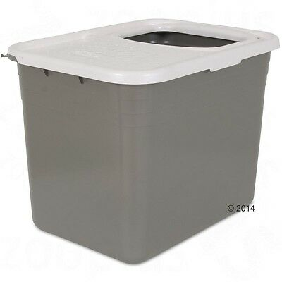 Hinged Flap Cover Top Entry Durable Plastic Base Modern Cat Litter Box