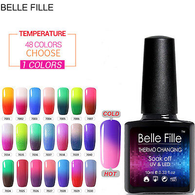 BELLE FILLE Nail Art Gel Polish Temperature Chameleon Color Change UV Soak Off