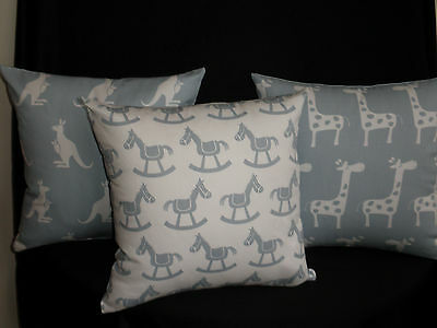 Blue & White Rocking Horse Nursery Child Cushion Cover, Ideal Baby Shower Gift
