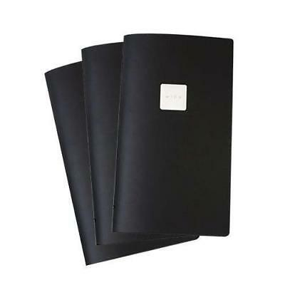 5x Deluxe Tuscan Leather Menu, Black, A4, Narrow with 2 Pockets, 'Wine' Badge