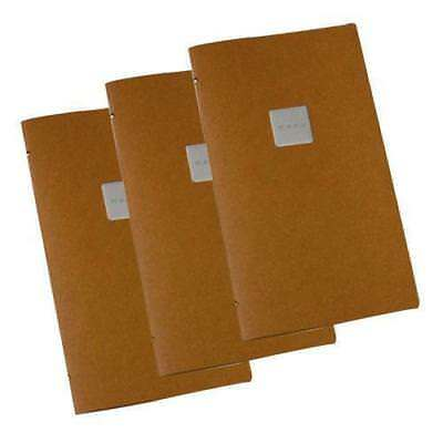5x Deluxe Tuscan Leather Menu, Natural A4 Narrow w 4 Pockets, 'Menu' Badge