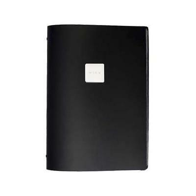 Deluxe Tuscan Leather Menu, Black, A4 w 4 Pockets, 'Wine' Badge, Restaurant